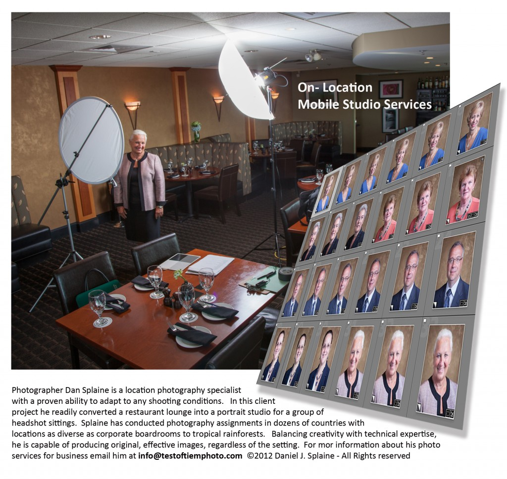 Commercial photographer Dan Splaine is a location photography service expert. He shoots business photography assignments at locations around the world. Copyright © 2013 Daniel J. Splaine - All Right Reserved