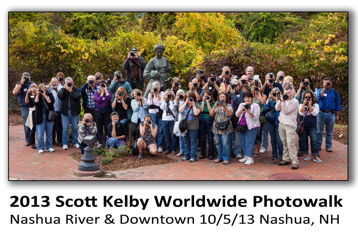 Group photo of the photographers who participated in the 2013 Scott Kelby Photowalk in Nashua, New Hampshire organized by pro photographer Dan Splaine.  Along with commercial photography services, he presents a program of digital photography workshops and photography tours throughout New England.  ©2013 Daniel J. Splaine- All Rights Reserved